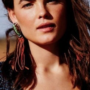 Free People Calm River leather fringe earrings
